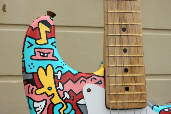 Customised Giant Fender Guitar, hand-painted Mister Phil Illustration Brighton